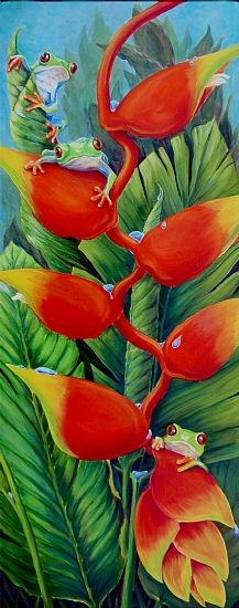 Heliconia Hotel by Tim Marsh Oil 30 inches x 12 inches Tropical Art, Tropical Flowers, My Flower, Flower Art, Watercolor Flowers, Watercolor Paintings, Hawaiian Art, Nature Artists, Arte Floral