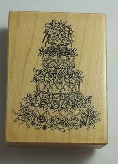 PSX Rubber Stamps Wedding Cake  #F-567 Marriage Love Roses Tier Flowers #PSX #Background