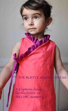 Instant download pdf pattern Ruffled kimono dress  12m up