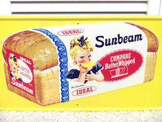 VINTAGE 50S SUNBEAM BREAD LARGE METAL SIGN BAKERY KITCHEN STORE ADVERTISING