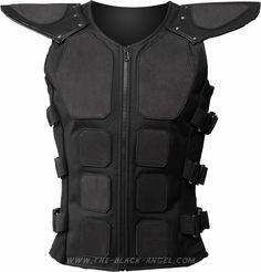 Gothic cyber bodice with rubber padding and shoulder pads, by Raven SDL.