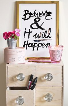 Typographic Print - Hand Lettering - Believe - Black and White - Motivation - Inspirational Quote - Glitter - Ampersand