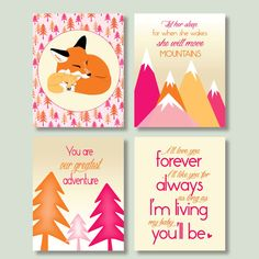 pink and orange woodland nursery set download nursery quotes printable wall art set of 4, let her sleep pdf, fox nursery digital prints jpg by SunnyRainFactory on Etsy https://www.etsy.com/listing/224454543/pink-and-orange-woodland-nursery-set