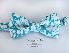 Mens Bow Tie  Beautiful Tropical Floral Turquoise by becauseimme