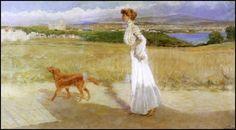.VITTORIO CORCOS CASTIGLIONCELLO 1910 olio su tela, cm 72x133 Siglato e datato in basso a destra