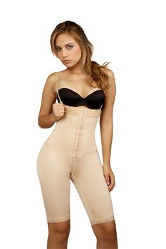 Long leg strapless body shaper. Wide pretty lace band on top with front hook-and-eye closure. Provides tummy control.