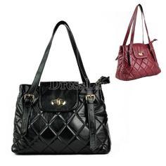 $ 9.31 Women's Retro Diamond Check Synthetic Leather Shoulder Bag Messenger Bag Handbag