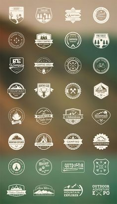 Outdoor Camping Icon Set is a collection of vintage-style inspired icons that are very useful to represent camping and travel related activities. Camping Icons, Camping Bedarf, Outdoor Camping, Camping Jokes, Web Design, Icon Design, Flat Design, Logo Inspiration, Icon Set