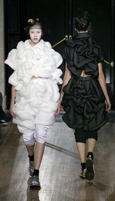 Soft Sculptural Fashion - black & white designs with padded 3D form - shape & volume; wearable art // Comme des Garçons