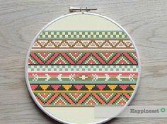 cross stitch borders pattern, aztec inspired PDF pattern, geometric pattern…