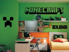 MINECRAFT LOGO Inspired Wall Decal Wall by Bonkers4Bottlecaps, $16.00