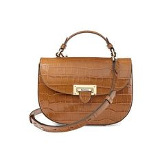 Aspinal of London Letterbox Saddle Bag In Deep Shine Vintage Tan Croc ($790) ❤ liked on Polyvore featuring bags, handbags, shoulder bags, crossbody, deep shine vintage tan croc, leather purses, leather crossbody handbags, leather saddle bags, brown shoulder bag and brown crossbody purse