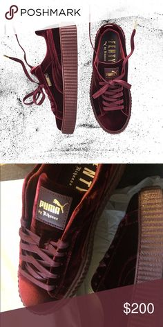 Fenty x Puma Rihanna Velvet Creepers Deep burgundy Rihanna creepers size 8.5.  Brand new, never worn or tried on Puma Shoes Sneakers