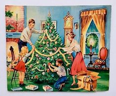 Other Collectible Vintage Greeting Cards Christmas Card Images, Old Time Christmas, Vintage Christmas Images, Christmas Scenes, Old Fashioned Christmas, Christmas Past, Retro Christmas, Vintage Holiday, Christmas Pictures