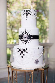 Art deco wedding cake. Photo by Sarah Kate, Photographer. www.wedsociety.com #wedding #cake