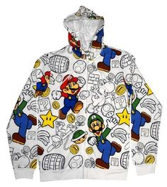 Whether you're a fan of Mario, Luigi or Yoshi, this high quality hoodie has them all! Show off your love for everything Mario related with this officially licensed Nintendo zip-up hoodie.