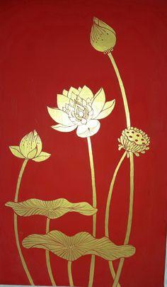 Pichwai Paintings, Amazing Paintings, Indian Paintings, Lotus Painting, Mural Painting, Fabric Painting, Chakra Art, Gold Leaf Art, Indian Folk Art