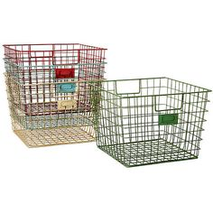 Wire Locker Baskets Set of 4 Storage Baskets (2.725 RUB) ❤ liked on Polyvore featuring home, home decor, small item storage, accessories, decor, multi, colored baskets, wire home decor, wire locker baskets and wire basket