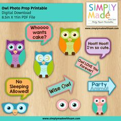 DIY Owl Party Theme Photo Booth Props. Simply Download, Print, Cut and Assemble with a wooden stick/skewer.  Make as many as you need.