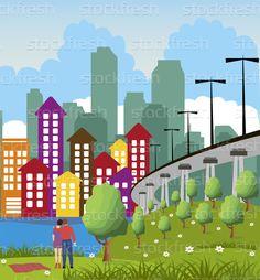 Moderno · metrópole · cidade · desenho · animado · ilustração · colorido - ilustração de vetor © Iryna Volina (Volina) (#5392522) | Stockfresh
