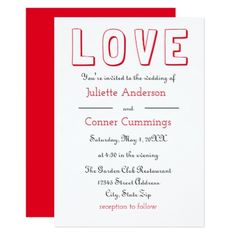 LOVE Red/Black - Wedding Invitation - red gifts color style cyo diy personalize unique
