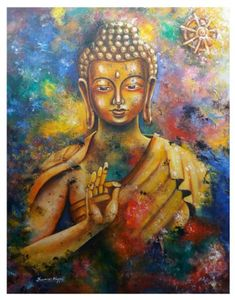 """If you touch one thing with deep awareness, you touch everything. Buddha Zen, Gautama Buddha, Buddha Buddhism, Buddhist Art, Spiritual Paintings, Religious Paintings, Budha Painting, Buddha Drawing, Buddha Artwork"