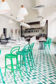 chevron tile floors in green and blue and white. / sfgirlbybay