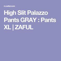 High Slit Palazzo Pants GRAY : Pants XL   ZAFUL