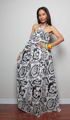 49d6480faa9 Summer Maxi Dress Black and White Flower Print Maxi Dress   Flower Blossom  Collection (Original Design Since March 2011)