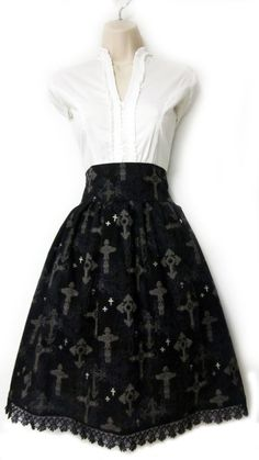 Black Gothic Lolita crosses skirt with lace