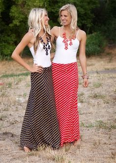 Maxi skirts & statement necklaces. Cute with a cardigan or a denim jacket!