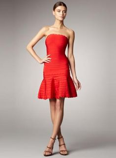 Bqueen Scalloped Strapless Bandage Dress Red