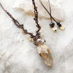 Image of Natural lightbrary Citrine amulet with Smokey Quartz