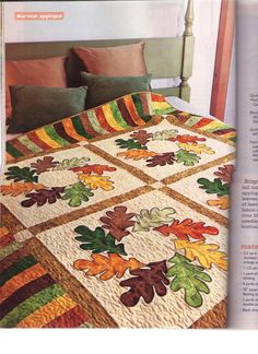 Autumn Wreath Quilt Pattern ---perhaps add to Saw Tooth forms Colchas Quilting, Quilting Projects, Quilting Designs, Halloween Quilts, Hanging Quilts, Quilted Wall Hangings, Patch Quilt, Applique Quilts, Couture Pour Halloween