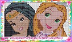 Pocahontas and Rapunzel - Disney Princess pattern by Dinha Ponto Cruz