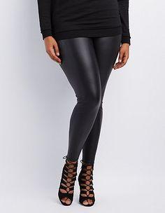 a96852eabcac5f Plus Size High-Rise Liquid Leggings: Charlotte Russe High Waisted Leather  Leggings, Plus