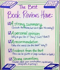 Book Reviews Anchor Chart!  Love it, don't you hate reviews that either give away the ending or are excessively negative - Joey