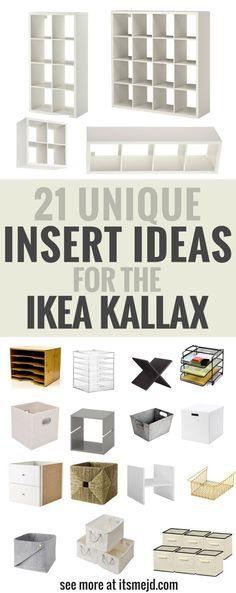 Unique Insert Ideas for an Ikea Kallax Bookcase, DIY , storage, hack - Ikea DIY - The best IKEA hacks all in one place Ikea Kallax Hack, Ikea Kallax Regal, Ikea Kallax Shelf, Ikea Office Hack, Office Desks, Craft Room Storage, Cube Storage, Ikea Hack Storage, Ikea Bedroom Storage