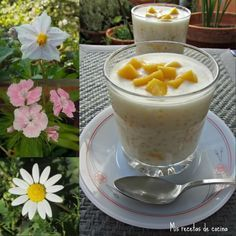 Perlas de tapioca con leche de coco y mango