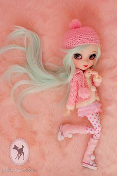 Custom Pullip Doll #winter #fuzzy #pink. I love the legwarmers and pompom on the sweater.