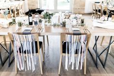 wedding Austria, Kalandahaus, long dinner table, grey blue photo: weddingreport.at Wedding Set Up, Wedding Table, Planer, Candles, Table Decorations, Furniture, Dinner Table, Austria, Home Decor