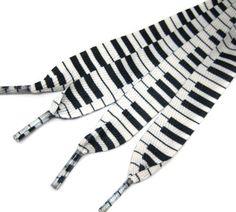 Black and white piano key shoelaces