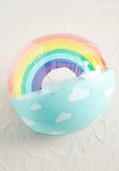 A lazy day certainly won't be had while this clear beach ball is in the picture! Prompting playful games of volleyball with an illusion-like rainbow. Rainbow Beach, Rainbow Sky, Rainbow Flag, Rainbow Quote, Crafts For Kids, Diy Crafts, Pool Accessories, Pet Rocks, Beach Ball