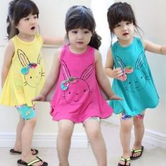 Cute Kid Girls Candy Color Rabbit Print Asymmetric Tops Long Ruffles Shirts with Bow Ruffles Design Sweet Casual Summer Stylish Shirts Online with $4.06/Piece on Smartmart's Store | DHgate.com