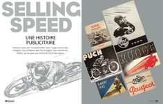 Café Racers (France), the latest issue (on newsstands now) contains a beautifully laid out exploration of the history of Speed imagery in motorcycle advertising, from 1900 to the 1970s.
