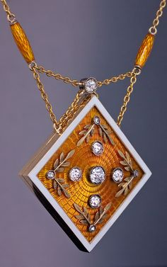 Antique Russian Enameled Gold Diamond Locket Necklace made in St. Petersburg between 1908 and 1917 | Romanov Russia