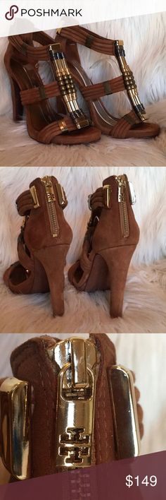 """Tory Burch Carla Beaded Brown Suede Sandals Sz 7.5 Tory Burch Carla Metallic Beaded Brown Leather Suede Sandals. Back zip closure. Suede wrapped heels. Heels 4.75"""". Platform 3/4"""". Leather Upper, lining, and sole. Size 7 1/2M. Gently Used. Love These Sandals. Tory Burch Shoes Sandals"""