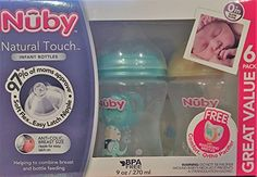 Nuby Natural Touch 6 Pack 9 Ounce Infant Bottles with Bonus Comfort Pacifier ** Check out the image by visiting the link.-It is an affiliate link to Amazon.