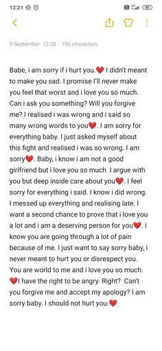 Sorry texts for him