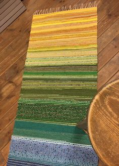 Excited to share this item from my shop: Green, blue, yellow mix cotton woven runner. The rug is funny,practical and decorative. Durable and pet friendly runner